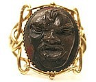 Unusual 19th C 14k Lava Cameo Mask Ring