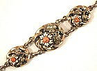Lovely Antique Bracelet, Enamel Flowers