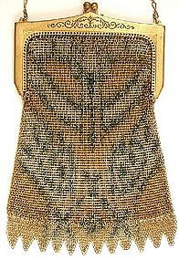 Elegant Whiting and Davis Deco Mesh Purse, Rare Frame