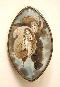 Poignant Georgian Mourning Miniature, Angel and Child