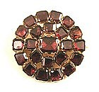 Gorgeous 18th C Gold and Flat Cut Garnet Brooch
