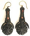Exceptional 19th C Articulated Earrings, Tortoise