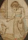 Charming Georgian Schoolgirl Needlework , Girl and Dog