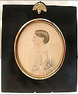 Charming Portrait Miniature of Young Girl, 1820's
