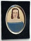 Folk Art Portrait Miniature of Young Woman
