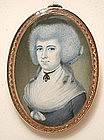American School Portrait Miniature of Lady, 1785