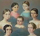 Portrait Miniature Group of 7 Children in Clouds, 1839