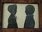 Portrait Miniature Cut Silhouettes of a Boy and a Girl