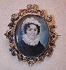 Portrait Miniature on Ivory, 15K Gold Brooch