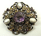 Sweet 19th C Austro Hungarian Brooch, Pearls,  Amethyst