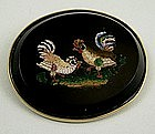 Rare 19th C Micro Mosaic of Two Chickens