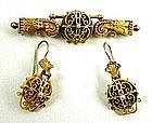 Victorian Gold Etruscan Set, Brooch and Earrings