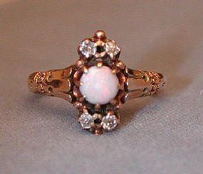 Lovely 14k Victorian Opal & Diamond Ring