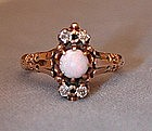 Lovely 14k Victorian Opal & Diamond Ring