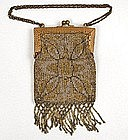 Lovely Petite Steel Bead Purse, Rug Motif