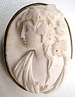 Gorgeous Victorian White Lava Cameo Brooch, Bacchante