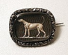 Unusual Victorian Sentimental Brooch, Greyhound, Hair