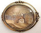 Mourning Miniature on Ivory Brooch, Hair Landscape