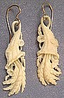 Victorian Ivory Earrings, Cornucopias