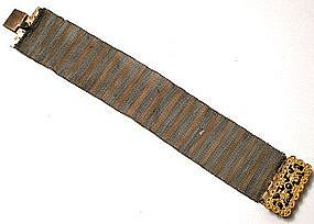 Fabulous 1830�s Mesh Wire Bracelet and Cut Steel Clasp
