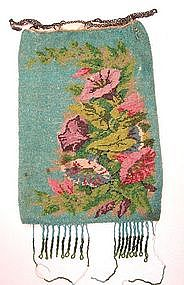 Antique Floral Microbead Purse, Turquoise