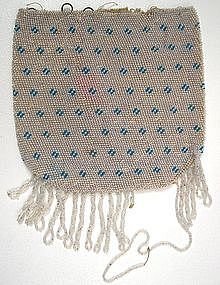 Early 19th C Beaded Purse, Blue Geometric