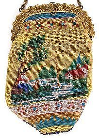 Wonderful Early 19th C Figural Beaded Coin Purse