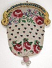 Fine 19th C Floral Beaded Coin Purse, Sea Serpent Frame