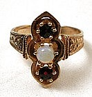 Victorian 14K Gold, Garnet and Opal Ring