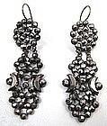 Fabulous 19th C Cut Steel Pendant Earrings