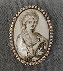 Sepia on Ivory Sentimental Brooch, ca 1790