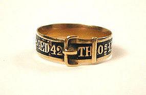 Gold & Enamel Mourning Buckle Ring, 1822