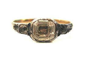 Georgian Cipher Ring, Rock Crystal & Diamonds