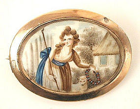 18th C Mourning Miniature Brooch -- Shepherdess