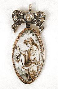 Sepia on Ivory Mourning Pendant, Paste Bow