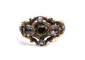 Beautiful Georgian Ring, Gold, Garnet, Turquoise