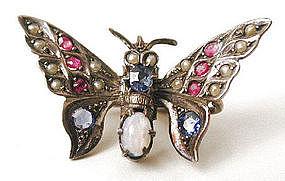 Rare Silver & Gem Butterfly Veil Pin, c 1905