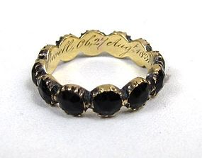 Georgian Mourning Eternity Ring, Jet and Gold