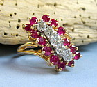 Retro estate 14k gold 2ct ruby & diamond ring