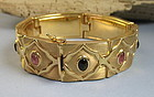 Retro estate Italy 18K gold Tourmaline gemstones bracelet