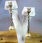 Estate 14k gold 1.9ct diamonds pearl day night earrings