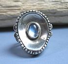 Modernist sterling silver moonstone ring Sam Kramer