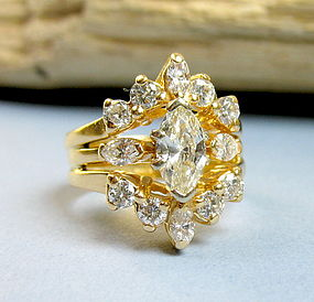 Retro 14K yellow gold 1.4ct diamond engagement ring