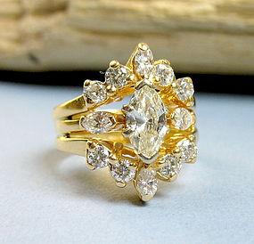 Retro 14K yellow gold 1.4ct diamond engagement ring