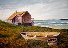 Vintage American gouache landscape painting
