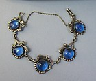 Taxco Mexico Los Castillo sterling  blue glass bracelet