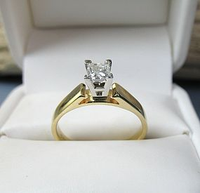 Modernist 14k gold solitaire diamond engagement ring