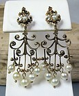 Antique Deco 14k gold genuine pearl chandelier earrings
