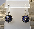 Pair of European antique Georgian enamel earrings