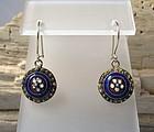 Pair of European antique Georgian enamel earrings
